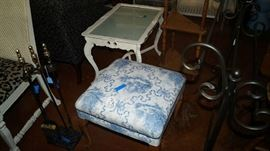 foot stool, glass top coffee table,