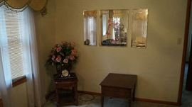 mirrors, floral, end and side tables