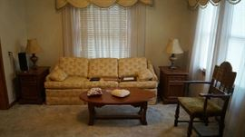 sofa, end tables, lamps, coffee table, arm chair