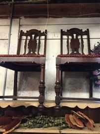 We have 6 vintage  Mahogany Dining Chairs.  The seats can be recovered to meet with your decor.