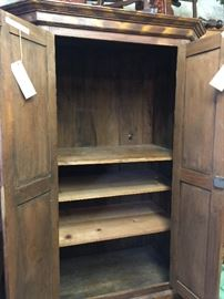 The inside of the Scandinavian Wardrobe. The shelves can be removed or more added.  Great as an entertainment cabinet and storage
