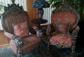 Pair of Carved  Animal head, feet  Chair