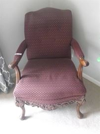 Hand Carved Burgundy Chair, Wood Arms and Legs