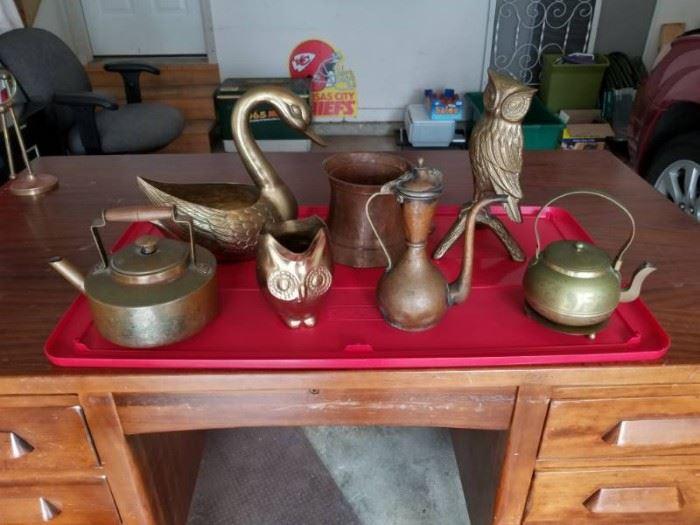 Lot of Brass Copper Owls Teapots