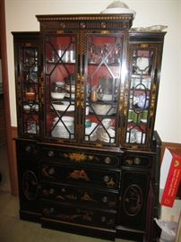 Black Lacquer Asian Inspired China Cabinet