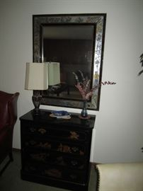Framed Mirror and Antique Cabinet