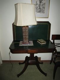 Antique Side Table Asian Inspired Lamp