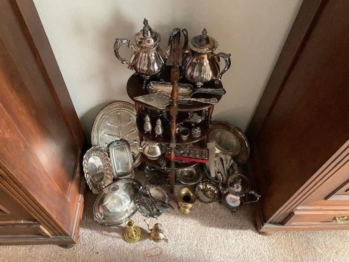 MUCH MORE SILVER PLATE ON  A STAND