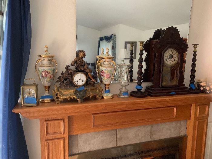 3 CLOCKS METAL STATUE  AND KITCHEN MANTEL CLOCK +SMALL CONTEMPORARY CLOCK