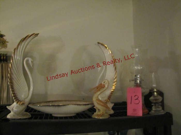 6 pcs: 2 swan decor, bowl, pelicans & 2 oil lamps