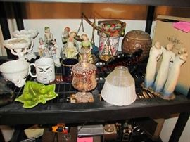 23 pcs: statues, cups, tins, decor bowls, cookie jar, glass shade & other