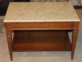 Mid-Century End Table with Marble Top