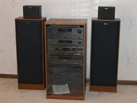 Surround Sound Stereo System with Tuner, CD Player, Cassette Player by Sony ( remote and cabinet included ).  Wonderful Sound!