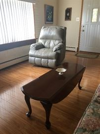 Queen Anne Leg Drop Sides Coffee Table and Leather Recliner