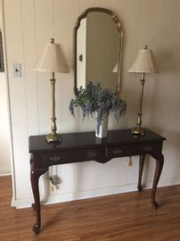 Queen Anne Leg Sofa Table and Mirror and Lamps