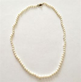 Antique pearl necklace with sterling silver clasp from Japan
