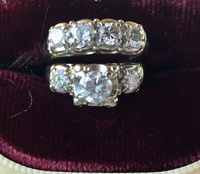 Antique bridal set with 7 diamonds set in 14K white gold ***Center diamond in engagement ring has small chip.