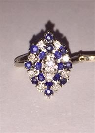 Sapphire and diamond hinged ring