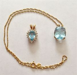 Topaz pendant on 14K chain and faux aquamarine pendant