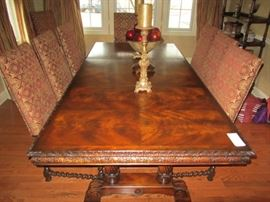FANTASTIC TRESTLE DINING ROOM TABLE(FROM THE D&D BUILDING NYC) AND 10(!!!) DESIGNMASTER CHAIRS!