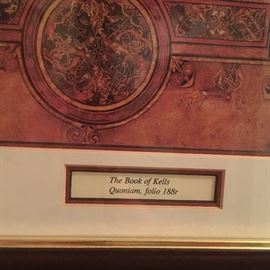 This is a framed copy of a folio from the Book of Kell's from Ireland
