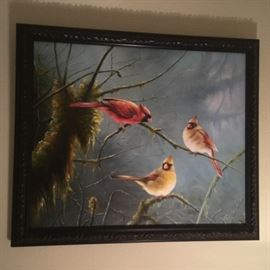 Beautiful oil painting of 3 cardinals!