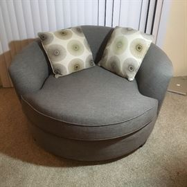 Round chair.  Very comfortable and 1 year old.