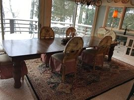 Stunning, 11ft antique oak dining table. Seats 14 with all leaves in!