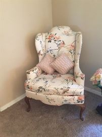 On of two wing back chairs