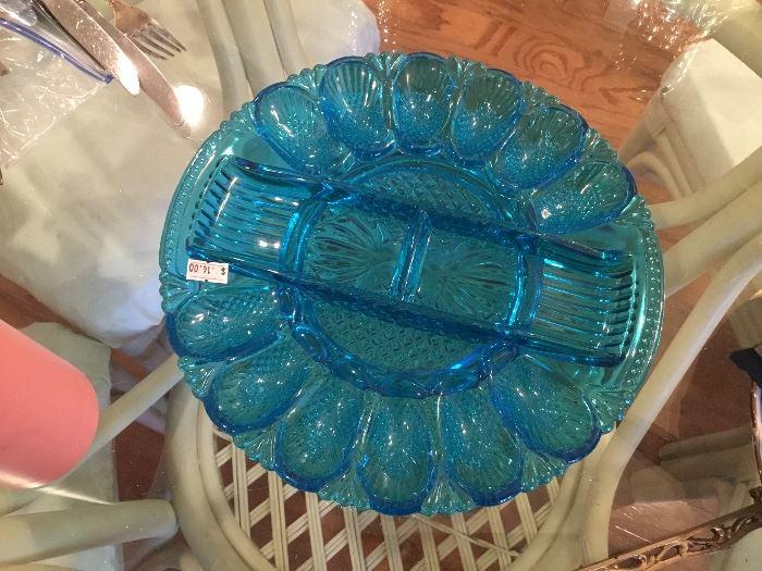 Blue egg plate