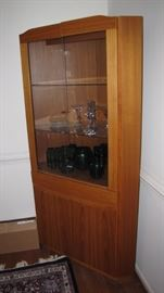 Rare - Mobler / Moller  corner dining room china hutch. MINT condition.