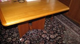 Expanding Teak (Denmark) MCM Mid Century Modern dining room table - leaves are built into table and expand 1/2 leaf.