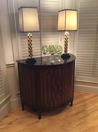 Continental Table $250 with Debonair Lamps just $200, set of 12 green red wine glasses $24!
