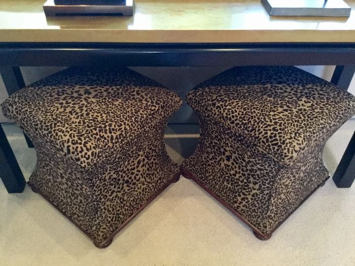 Pair of leopard print stools by Hickory. Great pieces! :)