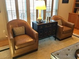 Stunning leather, swivel club chairs. Excellent condition!