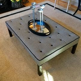 Hounds tooth, fabric/tufted, coffee table.