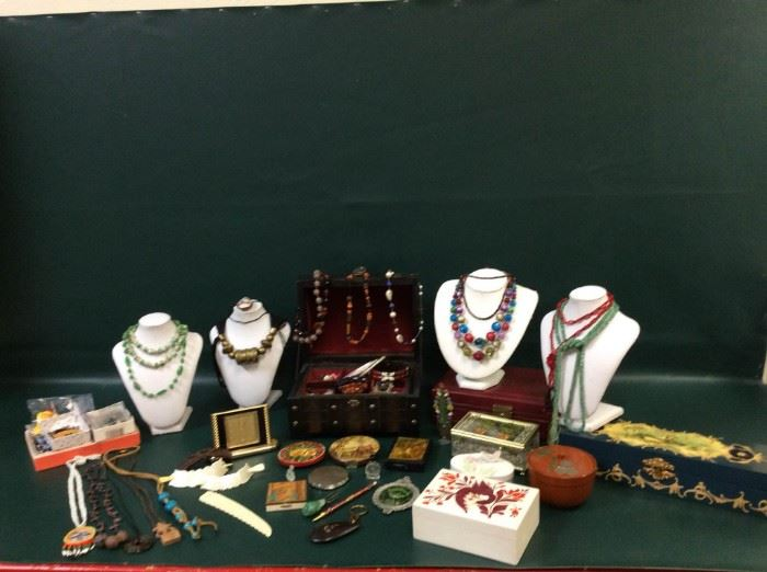 EB205G Costume Jewelry Ensemble, Jewelry Boxes, and More