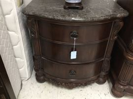 Bedroom side table/night stand - marble top and 3 drawers - there are 2 of these that match the bedroom set