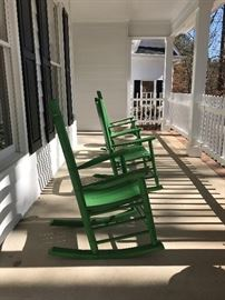 Green rocking chairs - ready for spring!