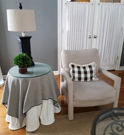 Pair of neutral chairs $50 each. Accent table. Lamp