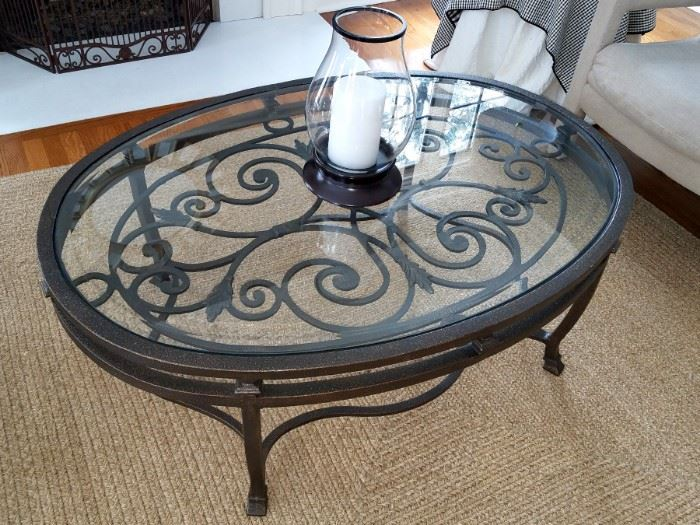 Glass coffee table $75(rug not for sale)