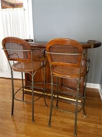 Drexel bar with two stools. Bar 375. Stools 75 each. $500 for all. (purchased for $2,000)