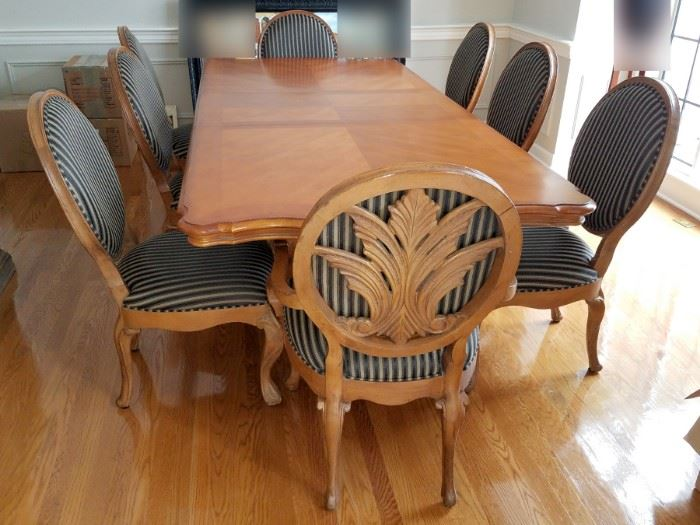"""Century dining room table with two leafs and eight chairs. 46"""" x 78"""" plus 2 - 22"""" leafs. $2,000"""