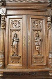 PAIR of ANTIQUE Highly Carved and Ornate Continental 3 Piece Hunt Cupboards with Full Figure Carvings and Griffins  Located Inside – Auction Estimate $1000-$3000