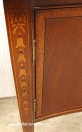 "BEAUTIFUL Mahogany Banded and Inlaid 2 Door 2 Drawer Brandy Board with Brass Gallery and Bell Flower Inlay by ""Ethan Allen Furniture""  Located Inside – Auction Estimate $700-$1200"