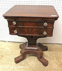 "ANTIQUE Burl Mahogany Empire 2 Drawer Work Table by ""Schultz & Drury Bros. Utica NY""  Located Inside – Auction Estimate $200-$400"