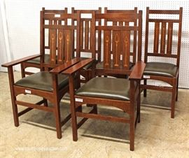 "AWESOME BEAUTIFUL 10 Piece Mission Oak Dining Room Set with  2 Matching Corner Cabinets with Arts and Craft Style Leaded Doors and Inlaid Buffet,  Table and 6 Arts and Craft Style Inlaid Chairs Table has 2 Leaves and  Custom Table Pads in LIKE NEW CONDITION by ""Stickley Furniture""  May be Offered Separate  Located Inside – Auction Estimate $8000-$15000"
