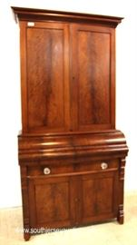 ANTIQUE Burl Mahogany 2 Piece Empire Blind Door Butlers Desk with Bookcase Top  Located Inside – Auction Estimate $400-$800