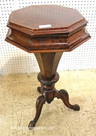 ANTIQUE Burl Mahogany Octagon Lift Top Sewing Stand with Contents  Located Inside – Auction Estimate $200-$400
