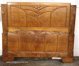 VINTAGE 4 Piece Art Nouveau Style Oak Marble Top Bedroom Set with Full Size Bed  Located Inside – Auction Estimate $300-$600